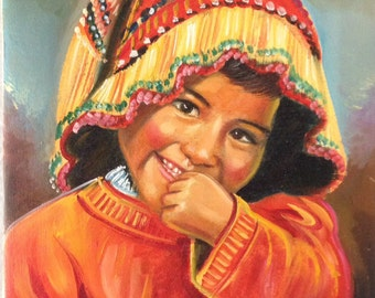 Original oil painting of child signed by artist