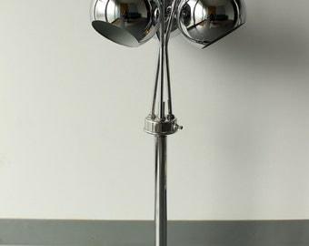 SALE! Chrome Globe Eyeball Tri-light Table Lamp, Mod, Retro, Art Deco Style