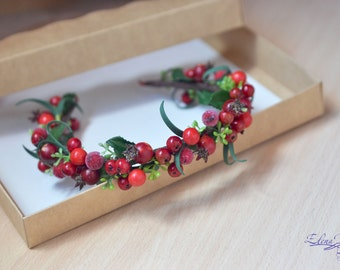 Rustic wedding berries crown Woodland hair wreath Red fall wedding Berries headband Forest wedding crown Christmas gift