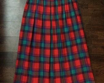 Vintage Pendleton 100% Wool Red Plaid Skirt
