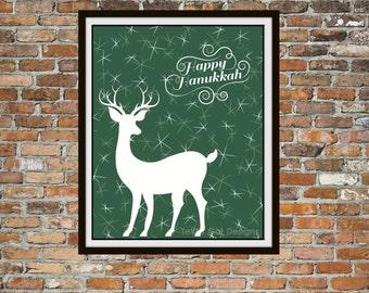 Happy Hanukkah Print, Winter Deer Art Design, Chanukah Jewish Printable Print Gift Wall Art Poster Decor Digital Image Instant Download