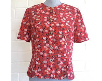 Vintage 80s red daisy/floral print button-up blouse - short sleeved