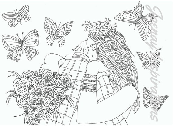 Adult Coloring Book, Printable Coloring Pages, Coloring Pages, Coloring Book for Adults, Instant Download, Loving Couple page 13