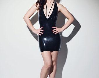 Deep V Neckholder Latex Dress - Chronomatic Luxury Latex Wear