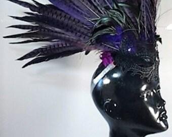 Feather Mohawk Purple Spike 'The Minerva'