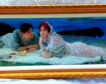 Romantic Vintage Oil Framed Painting on Canvas  A World of Their Own By Sir Alma-Tadema Hand Painted Victorian Home Decor