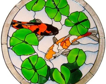 Koi Pond Stained Glass Effect Hand Painted Window Cling (Ref 1131)