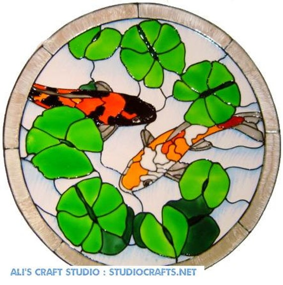 Koi pond stained glass effect hand painted window cling ref for Koi pond glass