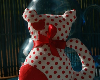 Red dotty cotton kitten toy companion