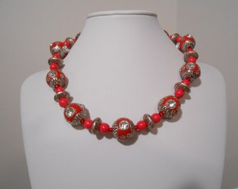 Red/Silver 16mm bead w/rhinestones accents