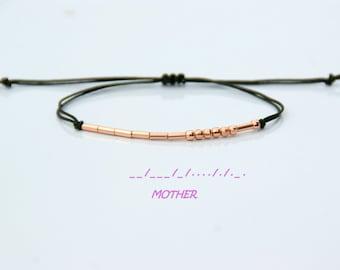 Mother Morse Code Bracelet-Mother Bracelet-Mother's Day Gift-Mom Bracelet-String Bracelet-Friendship bracelet_925 Silver