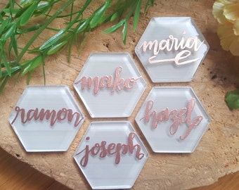Rose Gold Embossed Calligraphy Tile Place Markers