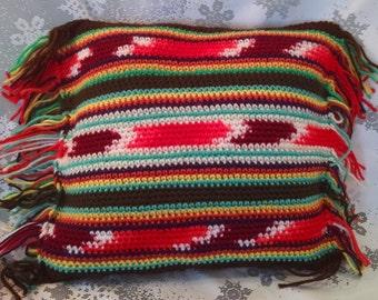 Crochet pillow, handmade crochet pillow, hippie pillow, pillow, vintage pillow, yarn, colorful, boho,decorative pillow, kitsch, retro decor