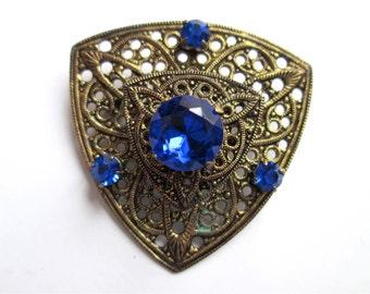 Vintage Brooch Pin Pressed Brass Filigree Vintage Triangular Tiered Sapphire Royal Cobalt Blue Rhinestones Claw Set