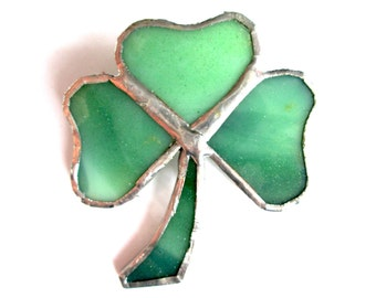 Vintage Green Stained Glass Shamrock Ireland Brooch Pin Clover Emerald Isle Irish Pride Shimmer Subtle Sparkle