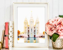 Salt Lake Temple, Salt Lake Temple Watercolor, LDS Temples, House of the Lord, LDS Printable, LDS Prints, Lds Wall Art, Lds Instant Download