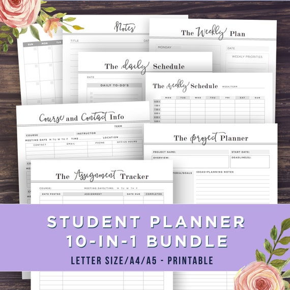 College Student Planner Printable 2016 A5 A4 By