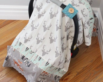 Hello Bear Carseat Cover - baby boy, carseat canopy, bear, deer, fox, raccoon, grey, white, teal, charcoal