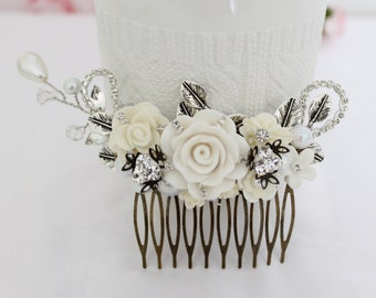 Ivory silver Rhinestone comb, Ivory white bridal comb, Bridal gift comb, Ivory hair accessory, Ivory wedding comb