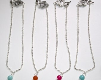 GJ Simplicity silver plated necklace with Malaysian jade pendant/charm: light blue