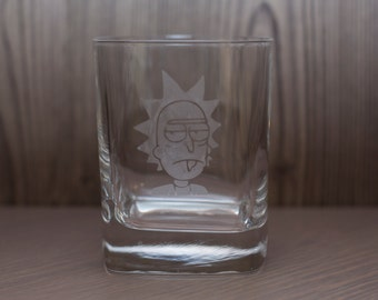Rick and Morty Inspired Etched Drinking Glasses - Whiskey Glass- Pint - Pub Glass - Beer Mug