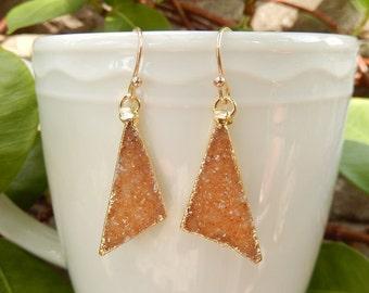 Orange Druzy Triangle Earrings 14K Gold Crystal Quartz Drusy Dangle Drop Free Shipping Jewelry