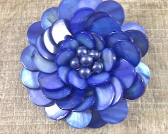 Stunning Vintage Estate Blue Dyed Mother of Pearl Flower Brooch