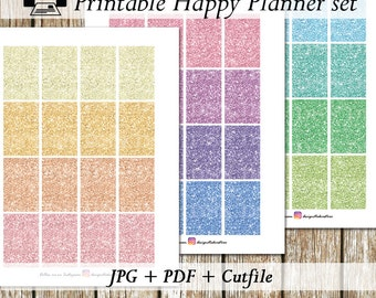 Pastel Glitter Fullbox/Happy Planner Stickers/Printable Happy Planner Stickers/Printable Planner Stickers/Glitter Sticker