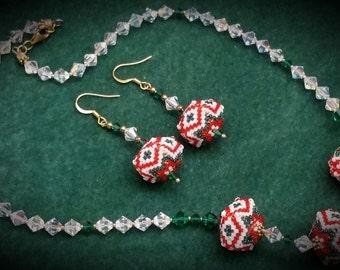 Santa Balls Necklace & Earrings