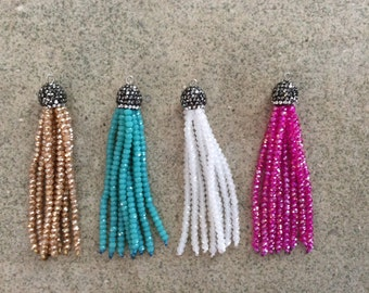 crystal tassel pave champagne, turq, white, fuchsia crystals jewelry making wholesale