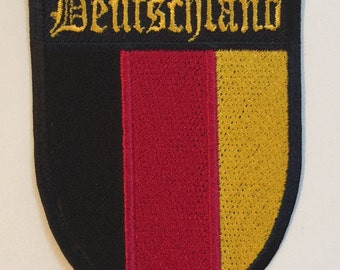 German Deutschland Patch - Iron on or Sew On - 100% Embroidered