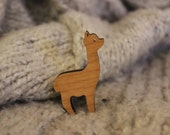 Alpaca Wooden Brooch. Made in Orkney, Scotland
