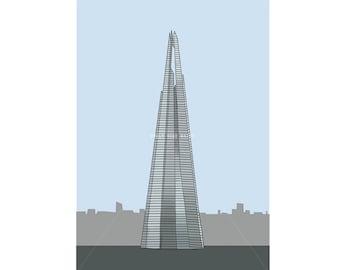 The Shard - Mini Print / Postcard - 6x4 Digital Illustration Art Print