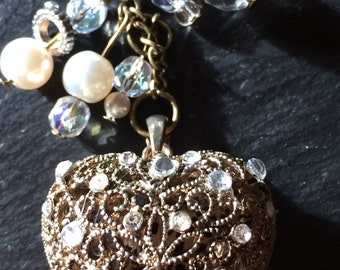 Sparkle Heart Vintage Style Repurposed Valentine Necklace