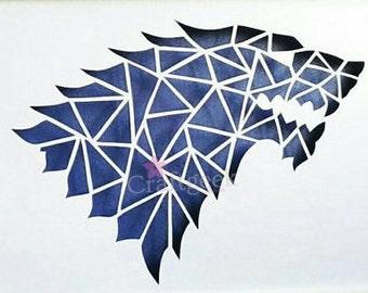 30%OFF On Geometric House Stark papercut, Game of thrones, papercut of stark, original artwork,Unique Game of thrones art.