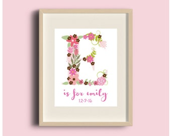 Letter E Art, Custom Letter Art, Nursery Alphabet Art, Alphabet Letter Prints, Letter Art, ABC Wall Art