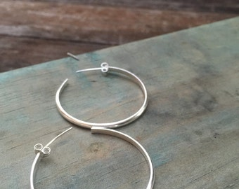 FREESHIP, large silver hoop earrings, statement silver hoop earrings, girlfriend gift, sterling silver hoops, handmade hoops, minimalist