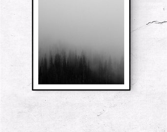 Forest, black and white print, printable art,  fog, nature prints, nature photography, modern print, digital photography, trees, forest