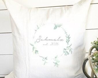 Custom Wedding Date Pillow, Wreath Pillow, Chic Wedding Decor, Wedding Gift, 18 x18 Pillow, Pillow Cover, Wedding Pillow, Anniversary Pillow
