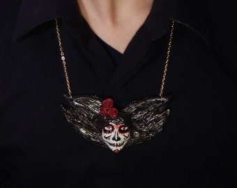 Day of the Dead Catrina Necklace (Red)- Polymer Clay