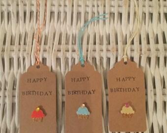 Handmade 'Happy Birthday' Gift Tags x3