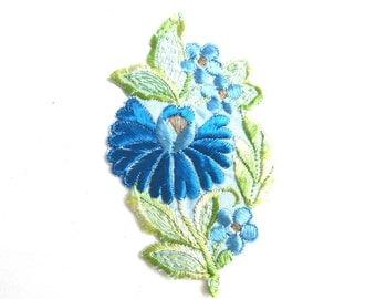 Flower Patch, Applique, 1930s vintage embroidered applique. Vintage floral patch, sewing supply. #643GFAK1F