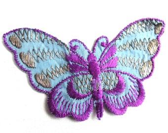 Butterfly applique, 1930s vintage embroidered applique. Vintage patch, sewing supply. Applique, Crazy quilt #5E6GC4KB