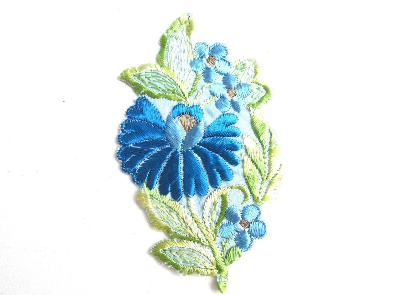 Flower Patch Applique 1930s vintage embroidered applique Vintage floral pa