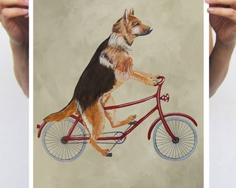 German Shepherd painting, print from original painting by Coco de Paris: German Shepherd on bicycle