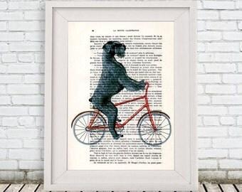 Schnauzer on bicycle Print, Giant Schnauzer, Digital Pantings by Coco de Paris