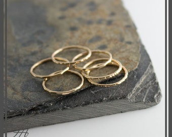 Set of Three Stackable Gold Ring, Gold Band, Stackable Ring, Hammered Ring, Staking Gold Ring, Dainty Stacking Ring, Stack Ring