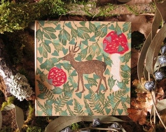 Eco-friendly-stationery-hand-printed with deer in the woodland,ferns and leaves on unique-notepad-post-its and recycled-pen