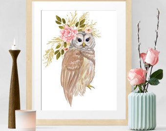 Owl Print, Woodland Prints, flower Nursery Art, Watercolor Animal Art, Bright Colorful Nursery Decor, boho chic, Printable Instant Download