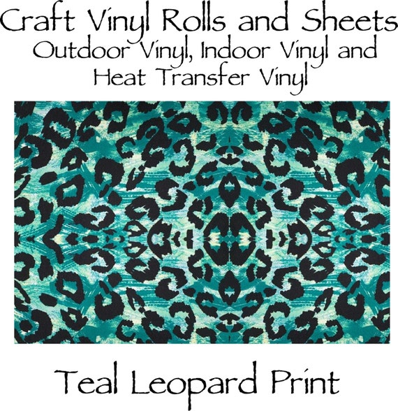 Beautiful, Vibrant Craft Vinyl and Heat Transfer Vinyl in Teal Leopard Print